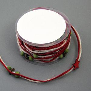 Girlande mit Sternen und Perlen Natur / rot 5m Geschenkband