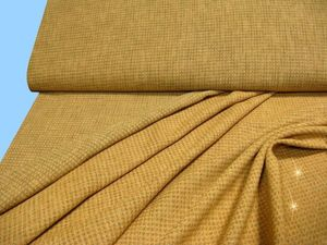 Karierter Hosen- Kostüm- und Dekostoff in ockergelb, schwarz, gold 145cm breit