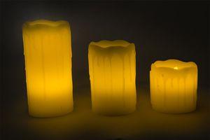 3er Set LED Wachskerzen mit Tropfeffekt aus Echtwachs – Bild 2
