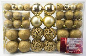 100er Set Weihnachts und Christbaumkugeln in Gold – Bild 1