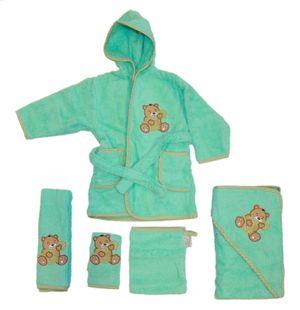 Baby Frottee Set Bär Handtuch Kapuzenhandtuch Bademantel 5-tlg. 100% Baumwolle  – Bild 10