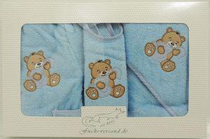 Baby Frottee Set Bär Handtuch Kapuzenhandtuch Bademantel 5-tlg. 100% Baumwolle  – Bild 6