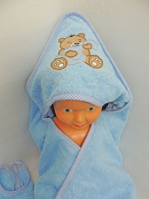 Baby Frottee Set Bär Handtuch Kapuzenhandtuch Bademantel 5-tlg. 100% Baumwolle  – Bild 4