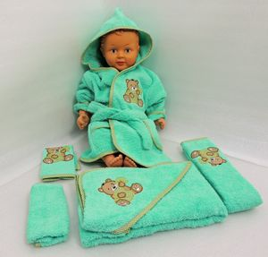 Baby Frottee Set Bär Handtuch Kapuzenhandtuch Bademantel 5-tlg. 100% Baumwolle  – Bild 3