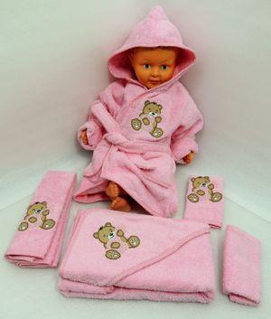 Baby Frottee Set Bär Handtuch Kapuzenhandtuch Bademantel 5-tlg. 100% Baumwolle  – Bild 7