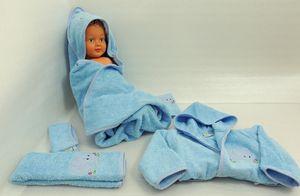 Baby Frottee Set Elefant blau Kapuzenhandtuch Bademantel 5-tlg. 100% Baumwolle  – Bild 3