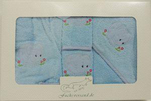 Baby Frottee Set Elefant blau Kapuzenhandtuch Bademantel 5-tlg. 100% Baumwolle  – Bild 6