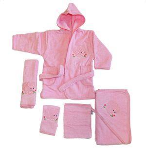 Baby Frottee Set Elefant rosa Kapuzenhandtuch Bademantel 5-tlg. 100% Baumwolle  – Bild 1