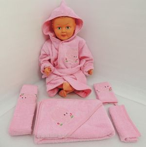 Baby Frottee Set Elefant rosa Kapuzenhandtuch Bademantel 5-tlg. 100% Baumwolle  – Bild 3