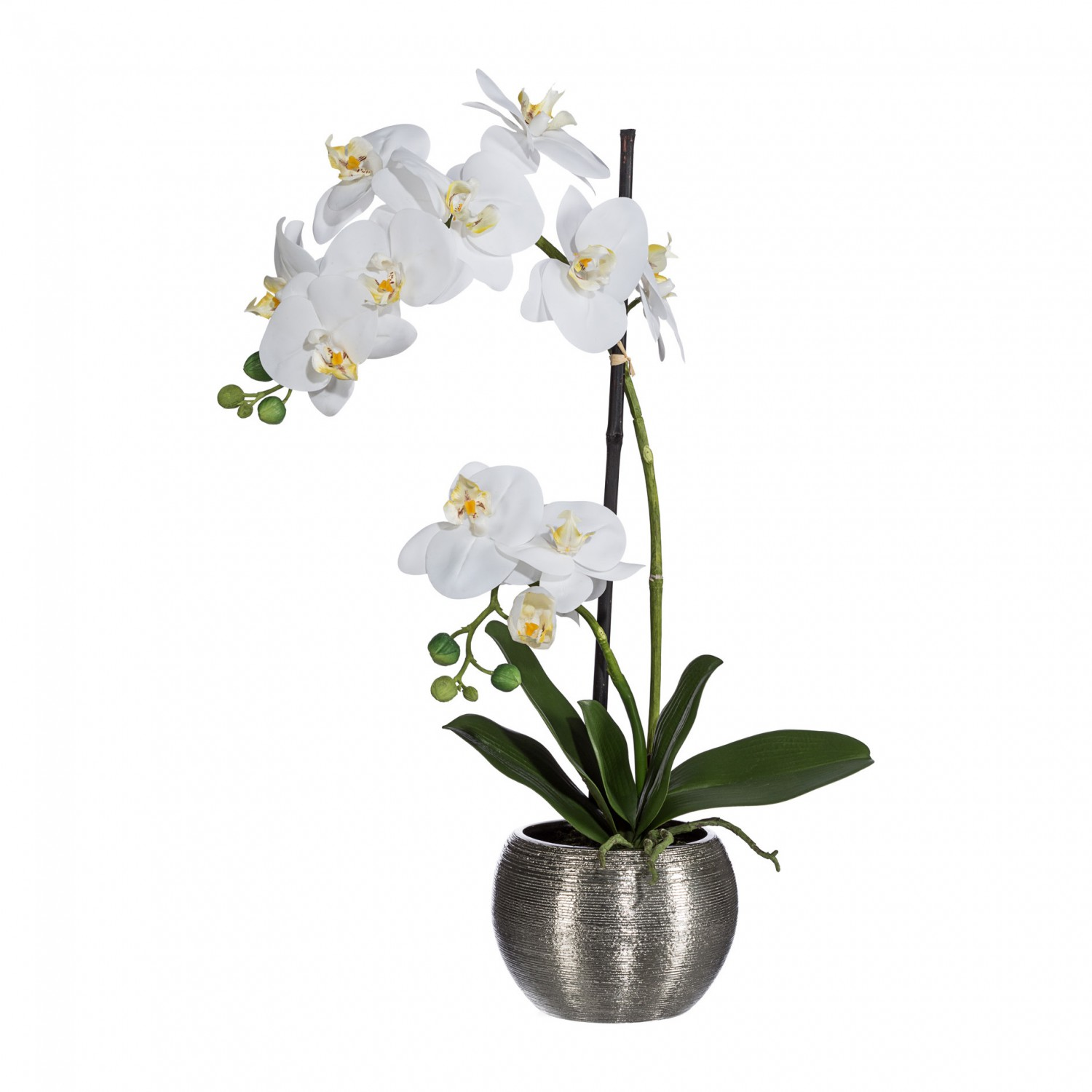 orchidee phalaenopsis kunstpflanze 60 cm in wei im silbernen kugeltopf kunstpflanzen bl hende. Black Bedroom Furniture Sets. Home Design Ideas