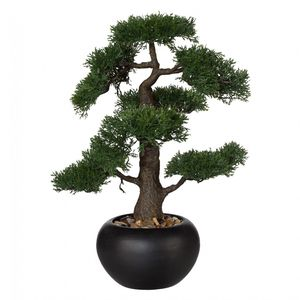 "Bonsai ""Zeder"" Kunstpflanze 48 cm in Keramiktopf mit Kies"