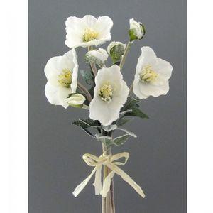 4er Set künstliches Christrosenarrangement mit Kunstschnee 35 cm weiß
