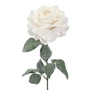 Künstliche Rose mit Kunstschnee 68 cm weiß