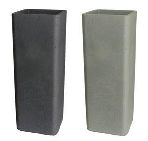 Pflanzsäule quadratisch Pflanzkübel aus Kunststoff in Zementoptik – Bild 1