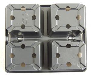 6 Stk. 4-er Topf 1619/4 Mehrfachtopf Multitopf Pflanztopf Kulturtray Kunststoff – Bild 4