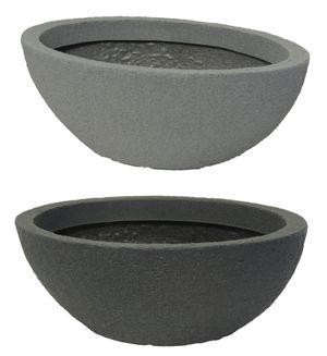 Pflanzschale Stone oval aus Kunststoff Steinoptik   – Bild 1