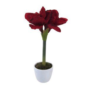 Kunstpflanze Amaryllis dunkelrot im Keramiktopf weiss ca. 35 cm