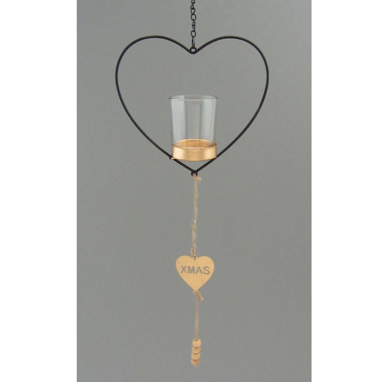 Deko metall herz h nger offen mit teelichtglas in schwarz for Deko metall