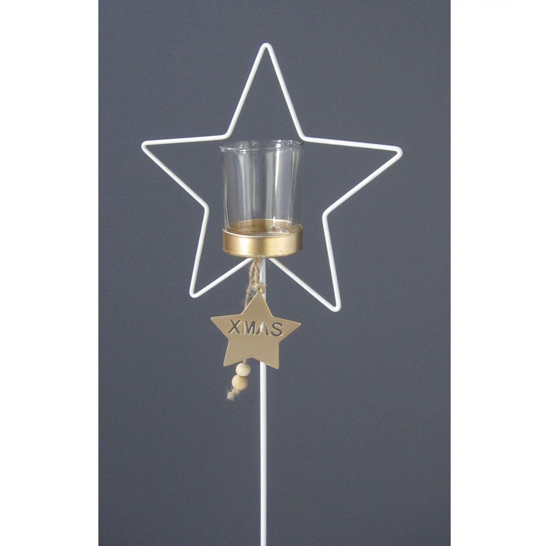 Deko metall stern stecker offen mit teelichtglas in gold for Deko metall