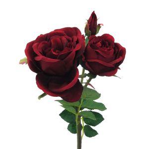 Künstliche Rose Kunstrose 3 Blüten 41 cm Farbe: rot Blüten: 7/6/2 cm