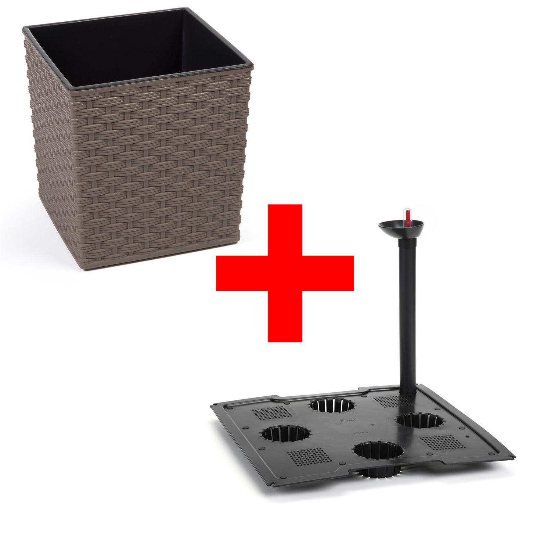set pflanzk bel juka aus kunststoff in rattan optik mit bew sserungssystem gartencenter. Black Bedroom Furniture Sets. Home Design Ideas