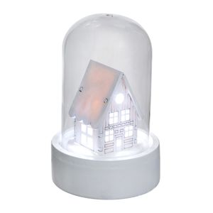 Holzhaus unter Glasglocke mit LED Beleuchtung, weiß