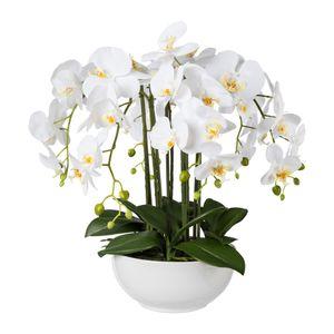 Künstliche Phalaenopsis in weißer Keramikschale 54 cm