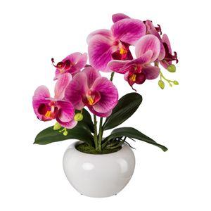 Künstliche Phalaenopsis in weißer Keramikschale 35 cm in versch. Farben – Bild 1