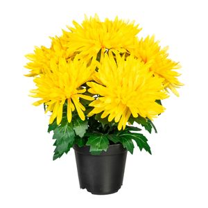 Künstliche Chrysantheme im Kunststofftopf ca. 32 cm in versch. Farben – Bild 1