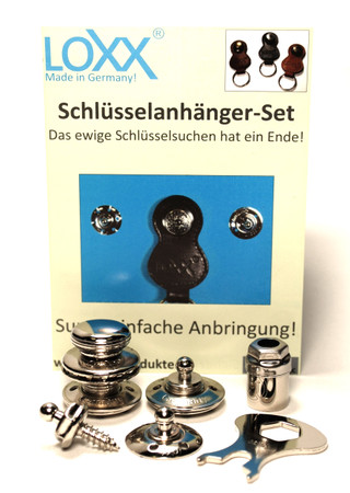 Loxx Schlüsselanhänger Set - glatter Kopf Nickel – Bild 1