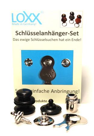 Loxx Schlüsselanhänger Set - glatter Kopf Schwarzchrom – Bild 1