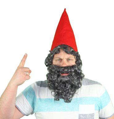 Zwergenmütze Mütze Zwerg Zwerge mit Bart Rot Kostüm