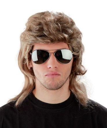 2er Kombi-Set !!!! 80er Jahre Vokuhila Perücke + verspiegelte Pilotenbrille - Vokuhilaperücke dunkelblond Männerperücke Herrenperücke Mantafahrer Atzeperücke Atze Proll Macho Prollperücke