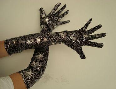Langarmhandschuhe Handschuhe Langarm Handschuh Spinnen schwarz silber Spinne Halloween Horror Kostüm