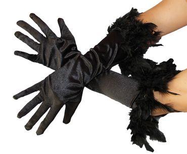 Federhandschuhe Handschuhe Feder schwarz Handschuhe schwarze 20er Jahre Edel Federn Glamour