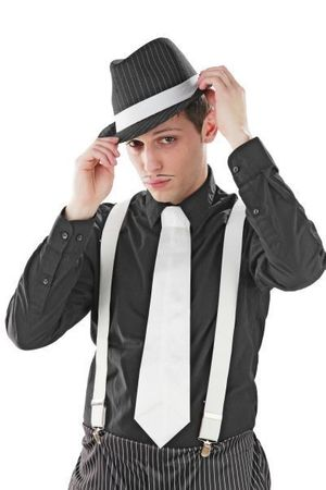 20er Jahre Mafia Hosenträger weiß weiss Kostüm Fasching weiße Hosen Träger