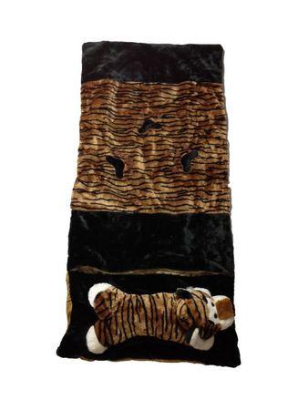 Deluxe Schlafsack für Kinder Kinderschlafsack Plüsch Tigerschlafsack 135 cm Tiger Schlaf Sack brauner Tierschlafsack Tier Tiere Kind Kinder braun