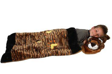 Deluxe Schlafsack für Kinder Kinderschlafsack Tigerschlafsack Tiger Plüsch 117 cm Kissen abnehmbar Schlaf Sack brauner abnehmbares Tierschlafsack Tier Tiere Kind Kinder braun