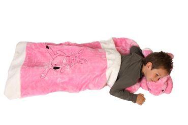 Deluxe Schlafsack für Kinder Kinderschlafsack Hasenschlafsack Hasen Plüsch 117 cm Hase Schlaf Sack Kissen abnehmbar rosa abnehmbares Tierschlafsack Tier Tiere Kind Kinder