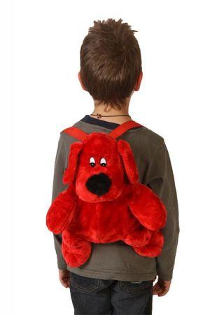 Deluxe Kinderrucksack Hunde Rucksack rot Plüsch 30 cm Hunderucksack roter Hund Kind für Kinder Träger verstellbar