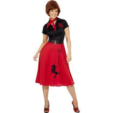 Stil der 50er Jahre Pudel-Kostüm, rot, mit Kleid, Schal und Gürtel