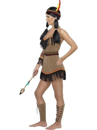 Indianerinkostüm Apache Kostüm Indianerin Kleid Minikleid Gr. 36/38 (S), 40/42 (M), 44/46 (L)