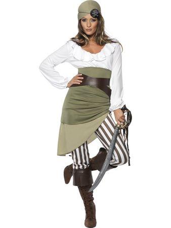 Piratinnenkostüm Piratenkostüm Freibeuter Karibik Kostüm Pirat Piratin Seeräuber Kostüm für Damen Damenkostüm 36 - 48