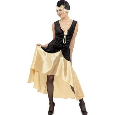 20s Gatsby Mädchen-Kostüm, Schwarz und Gold, Kleid, Hut und Perlenkette