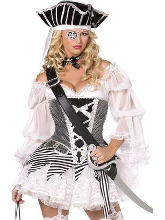 Sexy Piratinnenkostüm Kostüm Piratin 4teilig Gr. 36/38 (S), 40/42 (M), 44/46 (L)