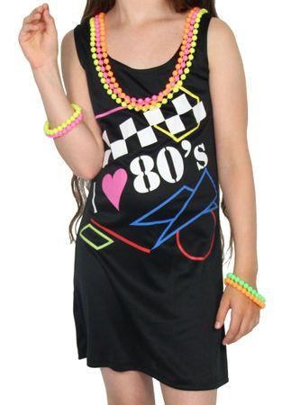 80er Kleid schwarz kurz mit 80s Druck Damenkostüm