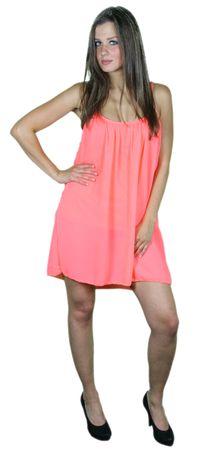 Damen Sommerkleid Chiffon Strandkleider sexy rückenfrei neon orange/rot
