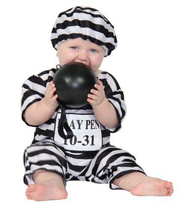 Babykostüm Gefangener Sträfling Kostüm Jumpsuit Gr. 68-86