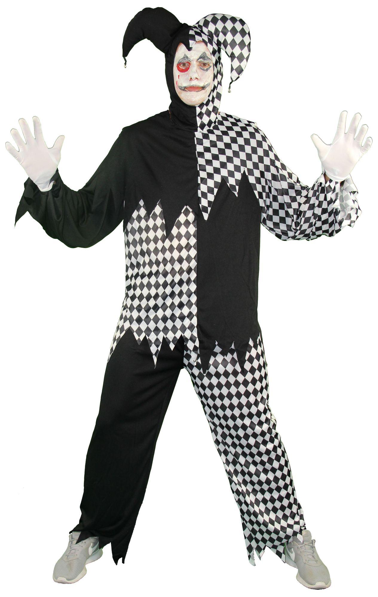 Horror Clown Harlekin Hofnarr Schwarz Weiss Kostum Fur Herren