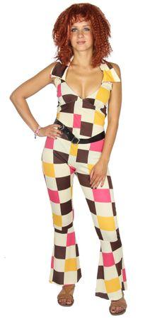 80er Jahre Jumpsuit Disco Tänzerin Kostüm für Damen Gr. XS-XL